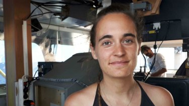 Sea-Watch 3 captain Carola Rackete on board the vessel at sea in the Mediterranean.