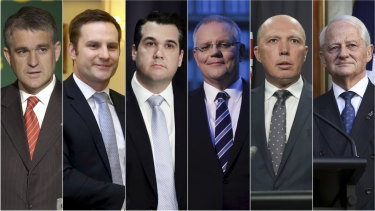 John Anderson, Alex Hawke, Michael Sukkar, Scott Morrison, Peter Dutton and Philip Ruddock.