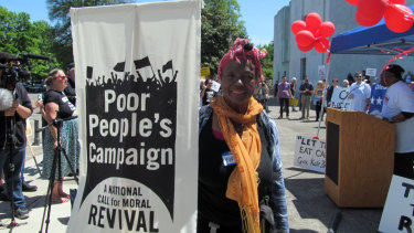 An Oregon activist at the Poor People's Campaign rally in Oregon on Monday.