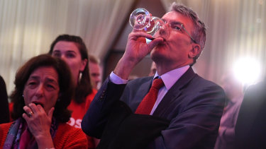 Labor frontbencher Mark Dreyfus with other party supporters in Melbourne, on Saturday.