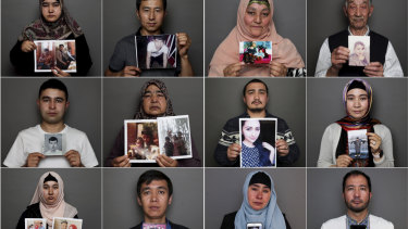 Uighurs in Australia hold up photos of relatives who are in internment camps, are missing or have passed away.