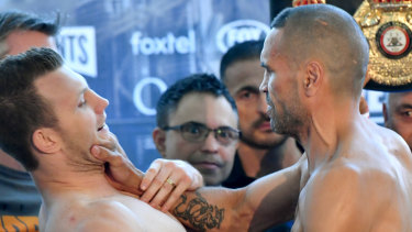 Fired up: Jeff Horn and Anthony Mundine clash in Brisbane.