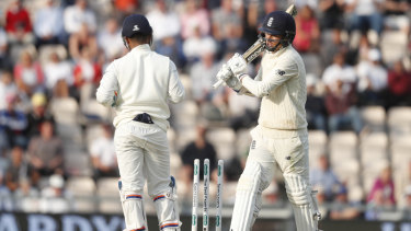 Rearguard: England's Sam Curran reacts after being bowled by India's Ravichandran Ashwin during the fourth Test in Southampton.