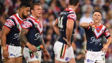 Field general: Cooper Cronk talks to his teammates on a night where his greatest value was as a game manager.