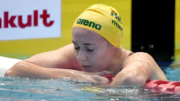 Big improver: Ariarne Titmus appears dejected after finishing second in the women's 400m freestyle final.