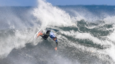 Riding high: Ryan Callinan slams back off the lip at Bells during his run to the semi-finals.