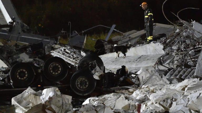 Rescue teams search for survivors in the rubble.
