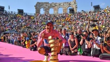 Ecuador's Richard Carapaz celebrates his Giro d'Italia victory.