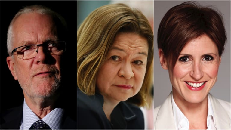 ABC chairman Justin Milne, former managing director Michelle Guthrie, and ABC chief economics correspondent Emma Alberici.