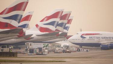 British Airways planes at London Heathrow Airport.