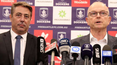 Fremantle president Dale Alcock (right) in August with outgoing CEO Steve Rosich.