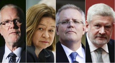 Former ABC chairman Justin Milne, former ABC managing director Michelle Guthrie, Prime Minister Scott Morrison and Communications Minister Mitch Fifield.