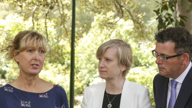 Premier Daniel Andrews and the late Minister for Women Fiona Richardson announce the terms of reference for the Royal Commission, alongside Fiona McCormack, CEO of Domestic Violence Victoria.