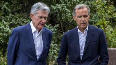 Federal Reserve chairman Jerome Powell with Bank of England governor Mark Carney at the Jackson Hole symposium.