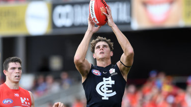 Target practice: The Blues must improve on delivering the ball to their tall forwards, including Charlie Curnow.