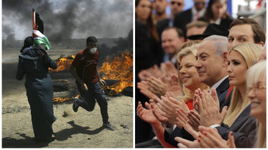 In this photo combination, Palestinians protest near the border of Israel and the Gaza Strip, left, and on the same day dignitaries, from left, Sara Netanyahu, her husband Israeli Prime Minister Benjamin Netanyahu, Jared Kushner and  Ivanka Trump, applaud at the opening ceremony of the new US embassy in Jerusalem.