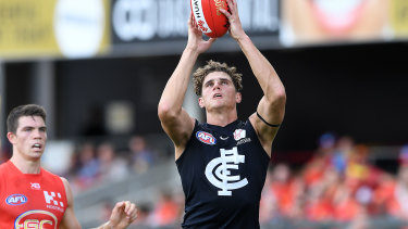 Charlie Curnow is in doubt but his return against Hawthorn would make for a very tall Blues forward line.