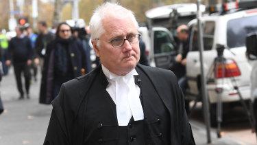 Pell's lawyer Bret Walker outside court on Wednesday.