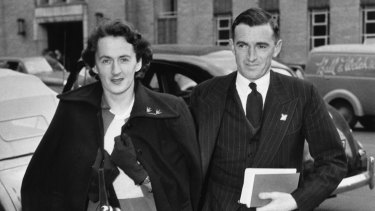 Frank Hardy and his wife Rosslyn head to court.