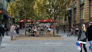 An artist's impression of the proposed outdoor dining on Barrack St, Sydney.