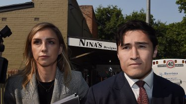 The lawyer for Sam Burgess, Bryan Wrench (right) at Moss Vale.