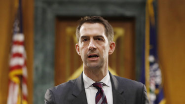 Senator Tom Cotton advocated sending in the US military for reasons debunked as misinformation.