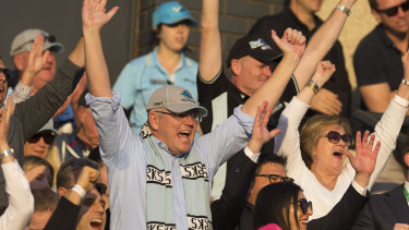 Re-elected Prime Minister Scott Morrison watches his Cronulla Sharks in action on Sunday.