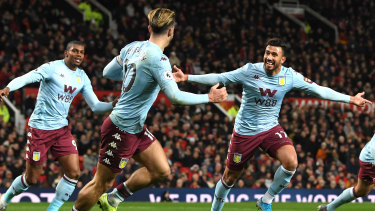 Trezeguet of Aston Villa celebrates after he appeared to score his side's second goal, which was then ruled out by a VAR decision.