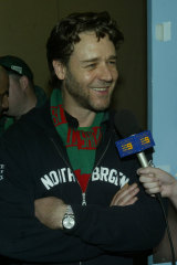 Russell Crowe all smiles after Souths' win over the Roosters in 2005.