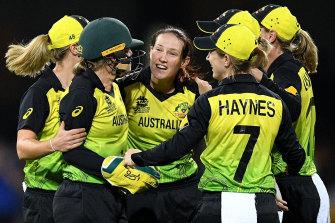 Australia's women celebrate the wicket of Dane Van Niekirk en route to yet another T20 World Cup final.