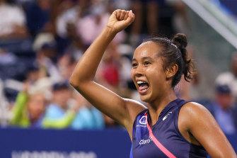 Leylah Fernandez celebrates after victory over Angelique Kerber.