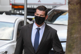 Ben Roberts-Smith outside the Federal Court in Sydney on Monday. The parties did not appear in court in person on Tuesday.