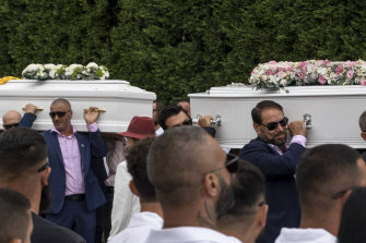 The caskets of Antony, Angelina and Sienna Abdallah at Our Lady of Lebanon Co-Cathedral in Harris Park.