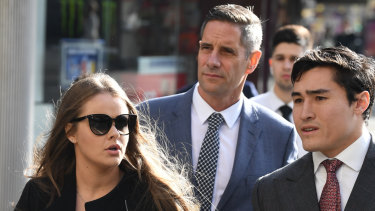 Sarah Rogers and Roman Quaedvlieg arrive at the Downing Centre court in Sydney on Thursday with solicitor Bryan Wrench.