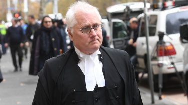 Pell's lawyer Bret Walker outside court on Wednesday.