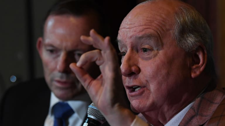 Sydney radio host Alan Jones, with close ally Tony Abbott, at the launch of a book 'How Political Correctness is Destroying Australia' in June.