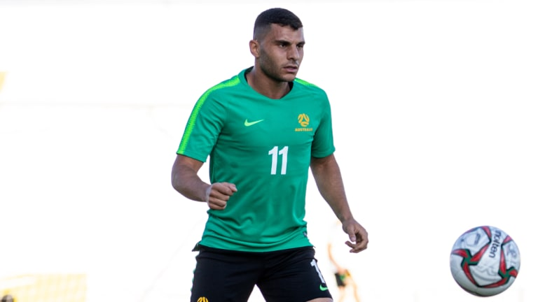 Late blow: Andrew Nabbout missed Australia's clash with Jordan due to injury.