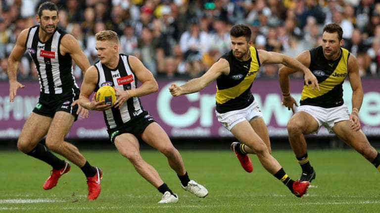 Collingwood onballer Adam Treloar is one of a core of midfielders building the Magpies' tough new brand.