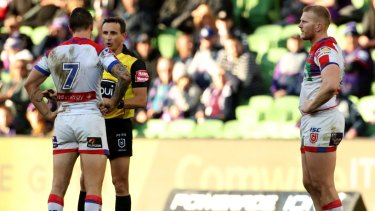 On report: Mitch Barnett looks on as Mitchell Pearce pleads his case.