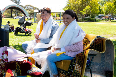 Rigzin Tenga and Tenzin Choedon finally get to celebrate their marriage with family and friends that are from all over Sydney at Koshigaya Park in Campbelltown.