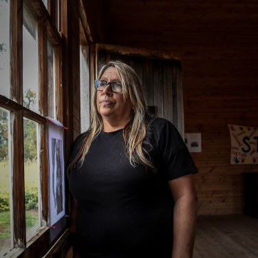 Aunty Donna Wright in an old dormitory at the Lake Condah Mission.