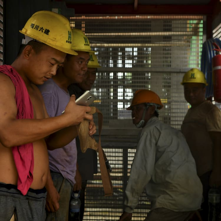 Chinese workers on the Blue Bay casino and apartment project in Sihanoukville.