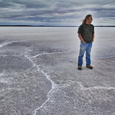 "Tim Winton in Lake Dundas, in WA: ""The thing about West Australia is that there is nothing between us and Antarctica. The swell and the trade winds come pouring up, really raw and nasty."""