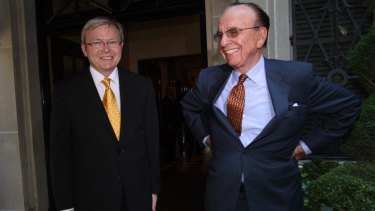 Prime Minister Kevin Rudd meets Rupert Murdoch in New York in 2008.