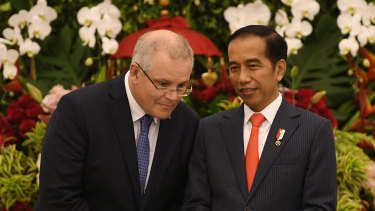 Prime Minister Scott Morrison pictured with Indonesian President Joko Widodo in Jakarta on  Friday.