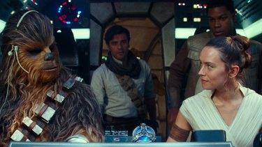 Chewbacca (Joonas Suotamo), Poe Dameron (Oscar Isaac), Rey (Daisy Ridley) and Finn (John Boyega) in Star Wars: The Rise of Skywalker.