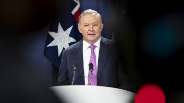 Anthony Albanese holds a press conference to announce his leadership of the Labor Party on Monday.