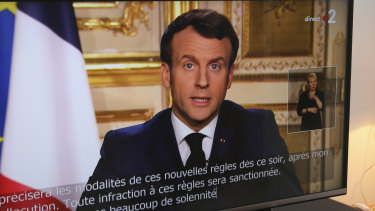 French President Emmanuel Macron speaks during a television address in Ciboure, France.