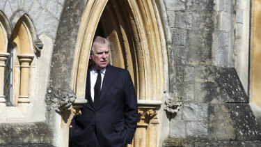 Prince Andrew emerges from the Royal Chapel of All Saints in Windsor in April.