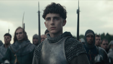 Timothée Chalamet as King Henry V in the Netflix film The King.